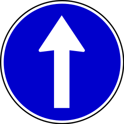 Traffic sign of Serbia: Driving straight ahead mandatory