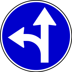 Traffic sign of Serbia: Driving straight ahead or turning left mandatory
