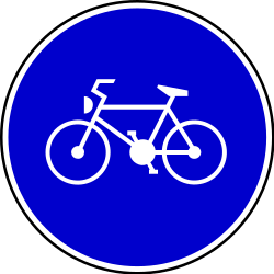 Traffic sign of Serbia: Mandatory path for cyclists