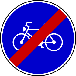 Traffic sign of Serbia: End of the path for cyclists