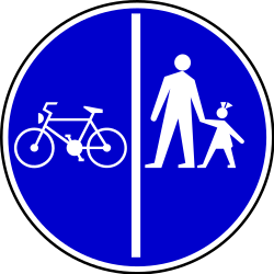 Traffic sign of Serbia: Mandatory divided path for pedestrians and cyclists
