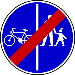 Traffic sign of Serbia: End of the divided path for pedestrians and cyclists