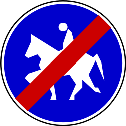 Traffic sign of Serbia: End of the path for equestrians