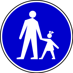 Traffic sign of Serbia: Mandatory path for pedestrians