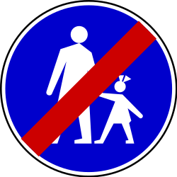 Traffic sign of Serbia: End of the path for pedestrians