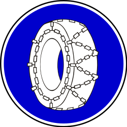 Traffic sign of Serbia: Snow chains mandatory