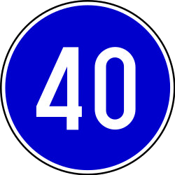Traffic sign of Serbia: Begin of a minimum speed
