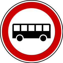 Traffic sign of Serbia: Buses prohibited