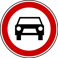 Traffic sign of Serbia: Cars prohibited