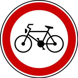 Traffic sign of Serbia: Cyclists prohibited