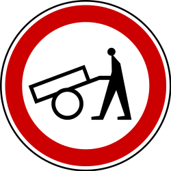 Traffic sign of Serbia: Handcarts prohibited