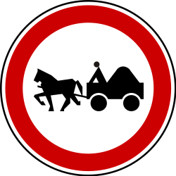 Traffic sign of Serbia: Horse carts prohibited
