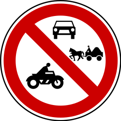 Traffic sign of Serbia: Motorcycles, cars and horse carts prohibited