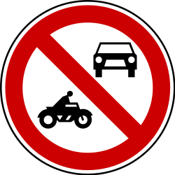 Traffic sign of Serbia: Motorcycles and cars prohibited