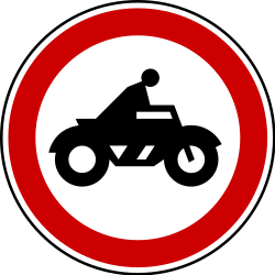Traffic sign of Serbia: Motorcycles prohibited