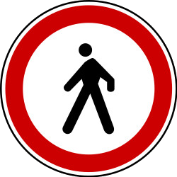Traffic sign of Serbia: Pedestrians prohibited