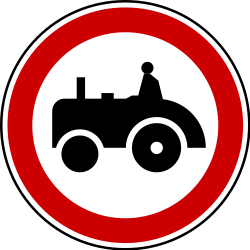 Traffic sign of Serbia: Tractors prohibited