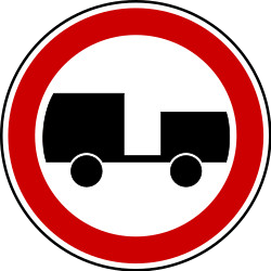 Traffic sign of Serbia: Trucks with trailer prohibited