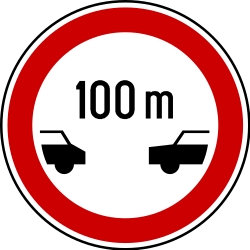 Traffic sign of Serbia: Leaving less distance than indicated prohibited