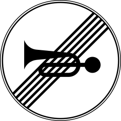 Traffic sign of Serbia: End of the prohibition to use the horn