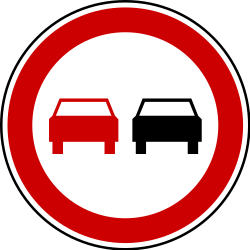 Traffic sign of Serbia: Overtaking prohibited