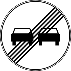 Traffic sign of Serbia: End of the overtaking prohibition