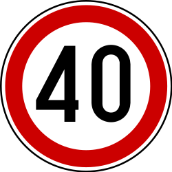 Traffic sign of Serbia: Driving faster than indicated prohibited (speed limit)