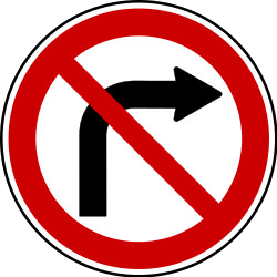 Traffic sign of Serbia: Turning right prohibited
