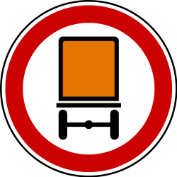 Traffic sign of Serbia: Vehicles with dangerous goods prohibited