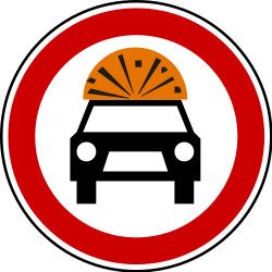 Traffic sign of Serbia: Vehicles with explosive materials prohibited