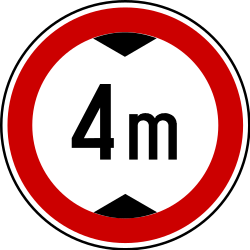Traffic sign of Serbia: Vehicles higher than indicated prohibited