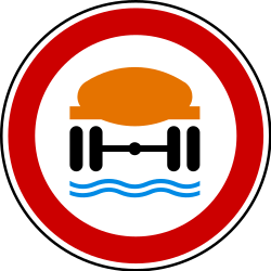 Traffic sign of Serbia: Vehicles with polluted fluids prohibited