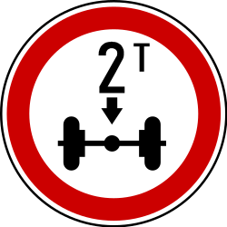 Traffic sign of Serbia: Vehicles with an axle weight heavier than indicated prohibited