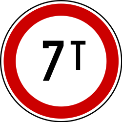 Traffic sign of Serbia: Vehicles heavier than indicated prohibited