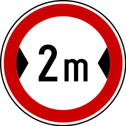 Traffic sign of Serbia: Vehicles wider than indicated prohibited