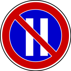 Traffic sign of Serbia: Parking prohibited on even dates