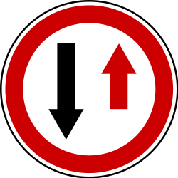 Traffic sign of Serbia: Road narrowing, give way to oncoming drivers