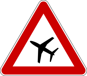 Traffic sign of Serbia: Warning for low-flying aircrafts