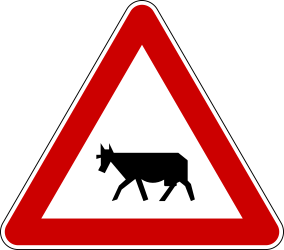 Traffic sign of Serbia: Warning for cattle on the road
