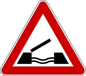 Traffic sign of Serbia: Warning for a movable bridge