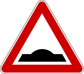 Traffic sign of Serbia: Warning for a speed bump
