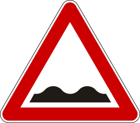 Traffic sign of Serbia: Warning for a bad road surface