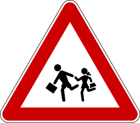Traffic sign of Serbia: Warning for children