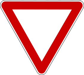 Traffic sign of Serbia: Give way to all drivers