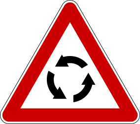 Traffic sign of Serbia: Warning for a roundabout