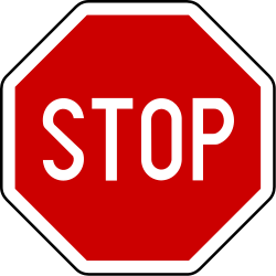 Traffic sign of Serbia: Stop and give way to all drivers