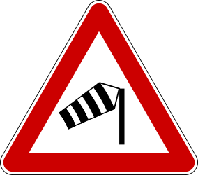 Traffic sign of Serbia: Warning for heavy crosswind