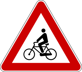 Traffic sign of Serbia: Warning for cyclists