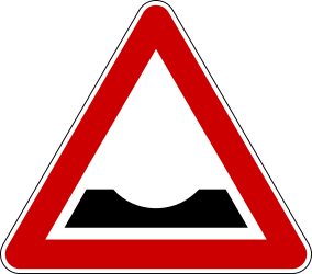 Traffic sign of Serbia: Warning for a dip in the road
