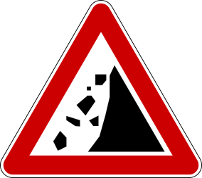 Traffic sign of Serbia: Warning for falling rocks